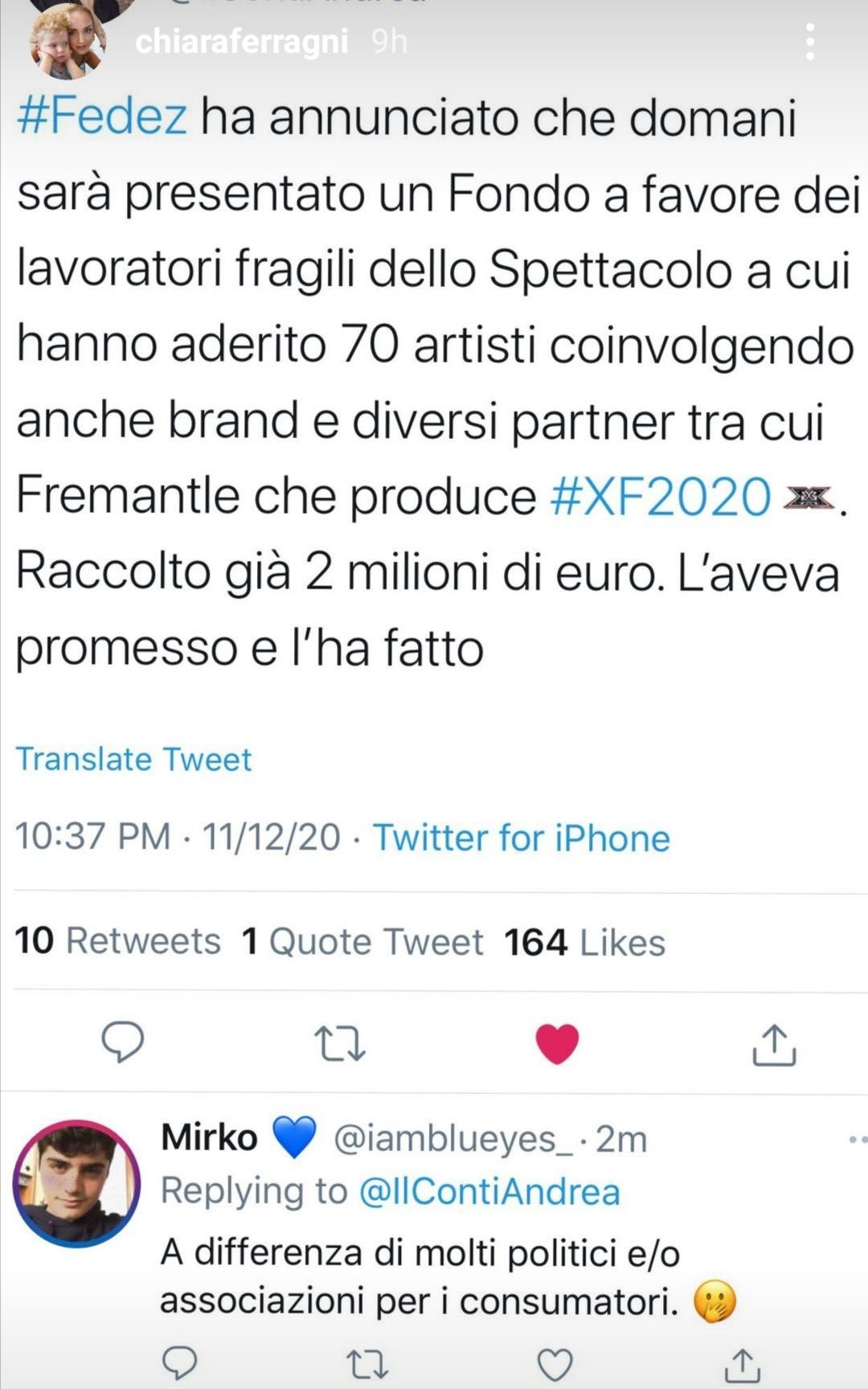 Fedez e il tweet di Chiara Ferragni