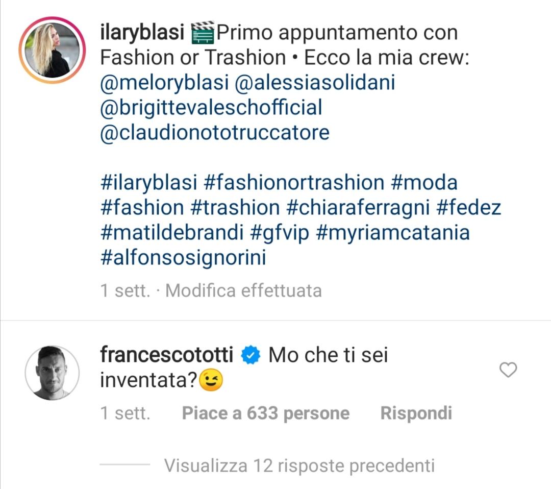 Il post di Totti per Ilary Blasi