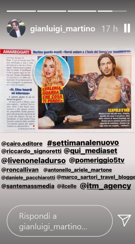 Instagram stories Gianluigi Martino
