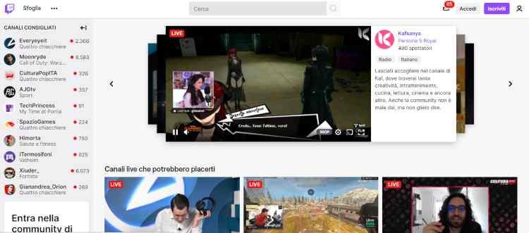 Schermata di Twitch