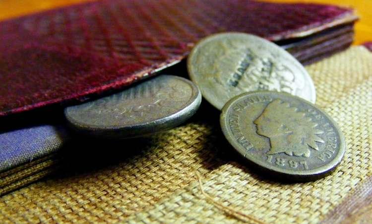 monete rare da un vecchio portafogli