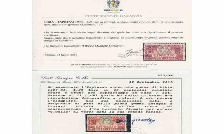 Certificati di garanzia francobollo