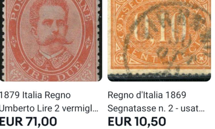 Due francobolli diversi tra loro