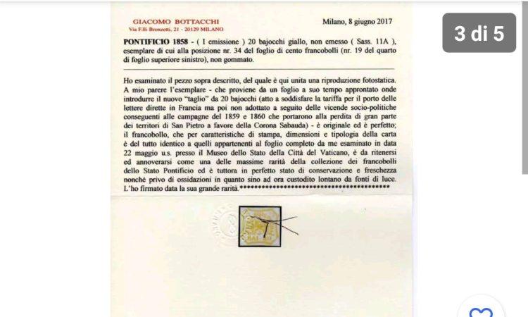 Una certificazione di validità del francobollo papale
