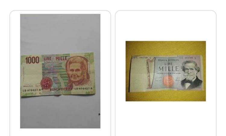 I soldi cartacei da mille lire
