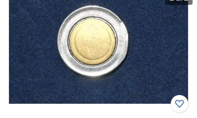 Una foto della moneta da 500 lire con errore di conio