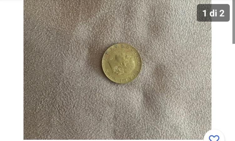 La facciata della moneta da 20 lire con la figura della testa