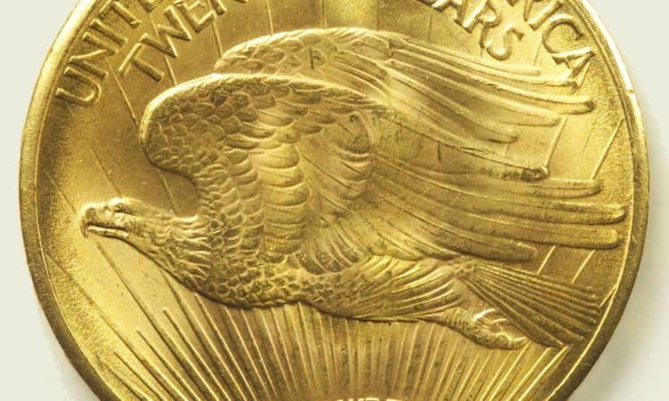 Una moneta statunitense con un'aquila disegnata