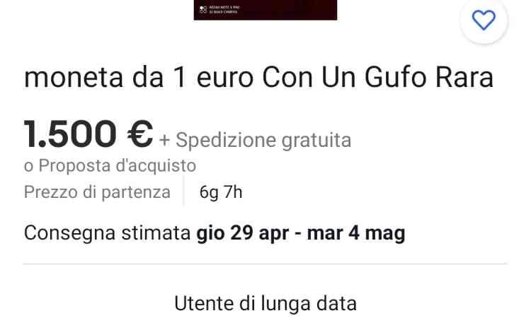 La scritta che indica i dettagli della moneta da 1 euro che ne vale 1.500