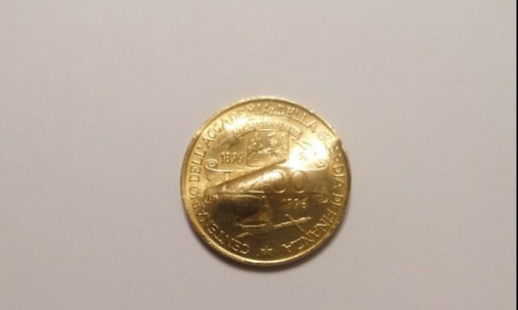 moneta commemorativa da 200 lire con errore di conio