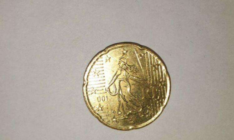 moneta da 20 centesimi con errore di conio