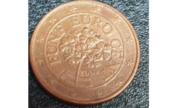 moneta da 5 centesimi con errori di conio
