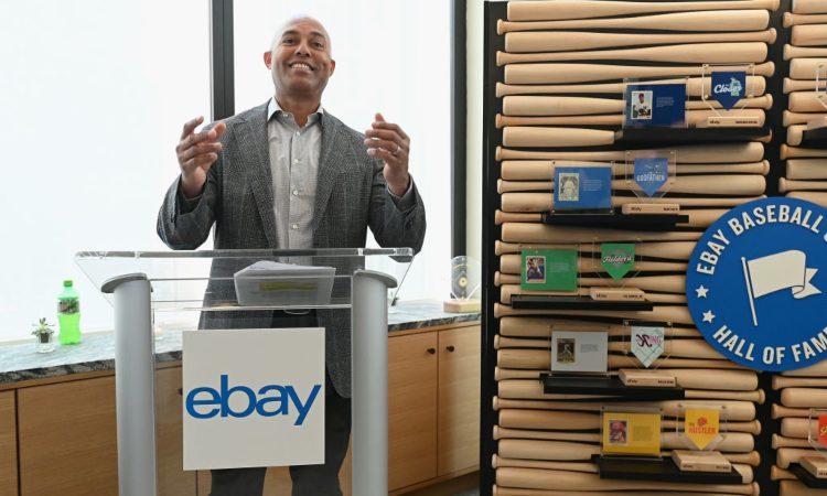 Un uomo con la scritta di Ebay sotto di lui