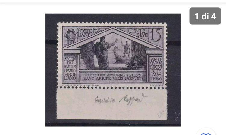 Un'immagine mostra un francobollo con un valore altissimo