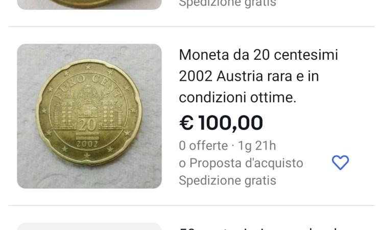 Una moneta da 20 centesimi che vale 100 euro