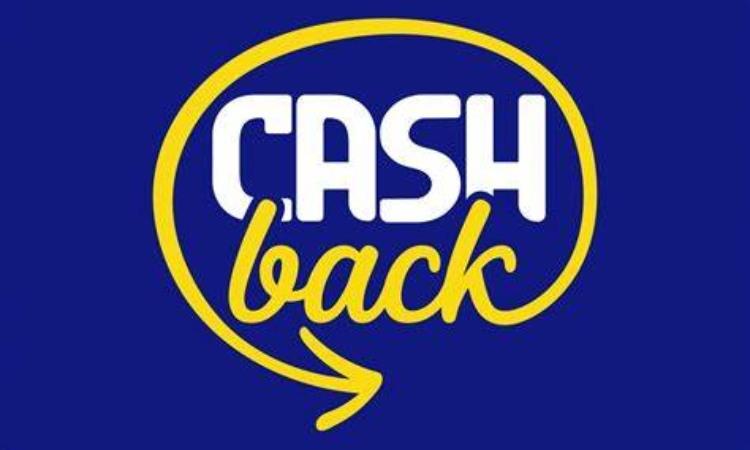La scritta Cashback su uno sfondo blue