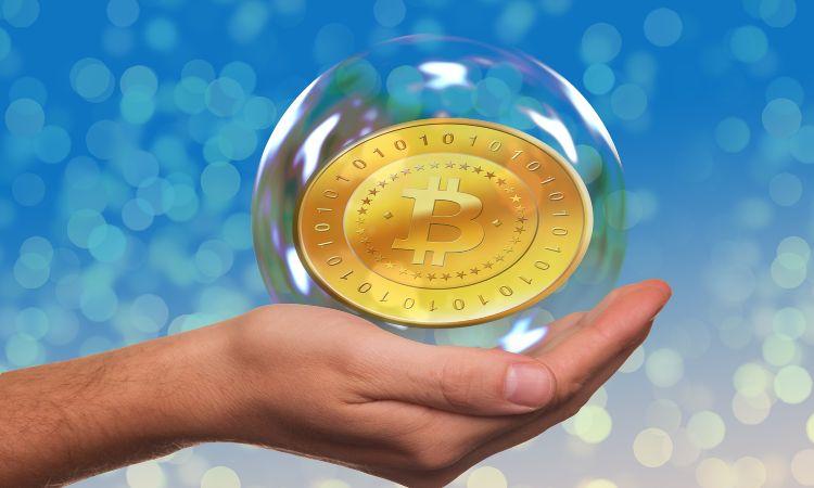 bitcoin in una bolla di sapone