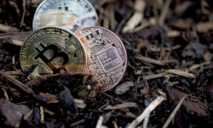 TRe Bitcoin poggiate sulla terra