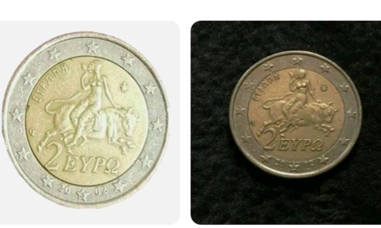 Due monete da 2 euro con un valore molto basso