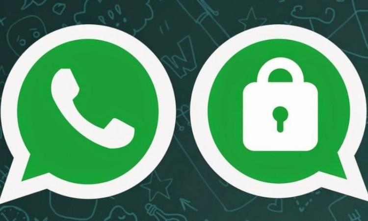 Due loghi simili di Whatsapp, di cui uno con il lucchetto