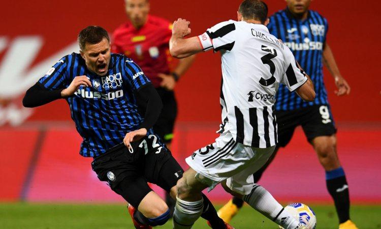 Chiellini durante la partita contro l'Atalanta