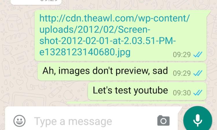 Un link su Whatsapp