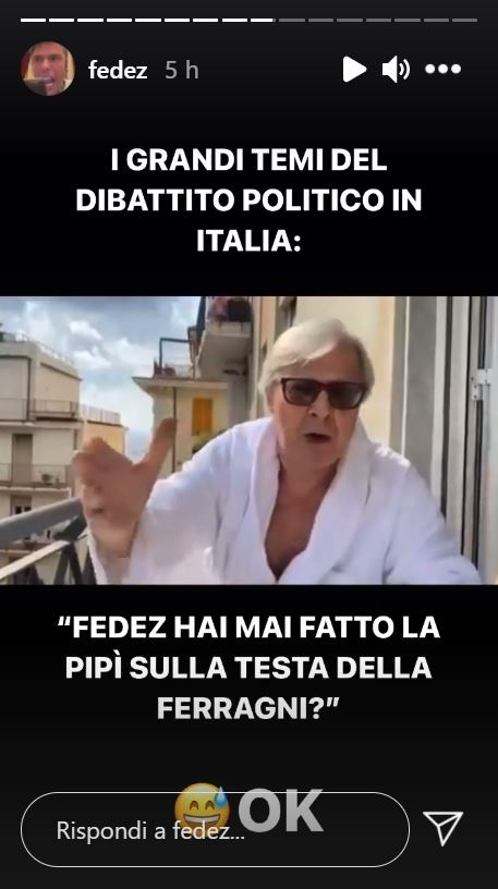 Vittorio Sgarbi nelle stories di Fedez