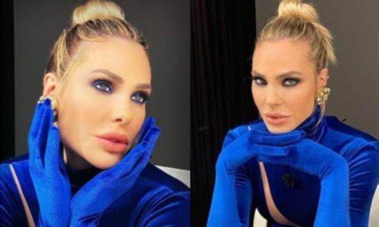 Ilary Blasi maglia blu