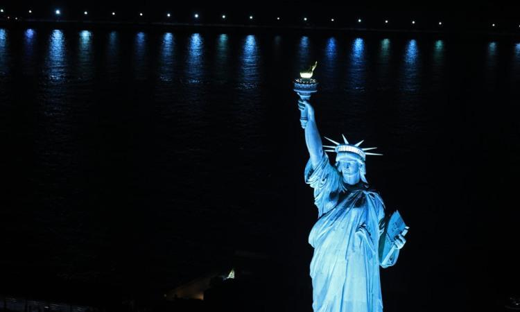 La statua della libertà vista dall'alto